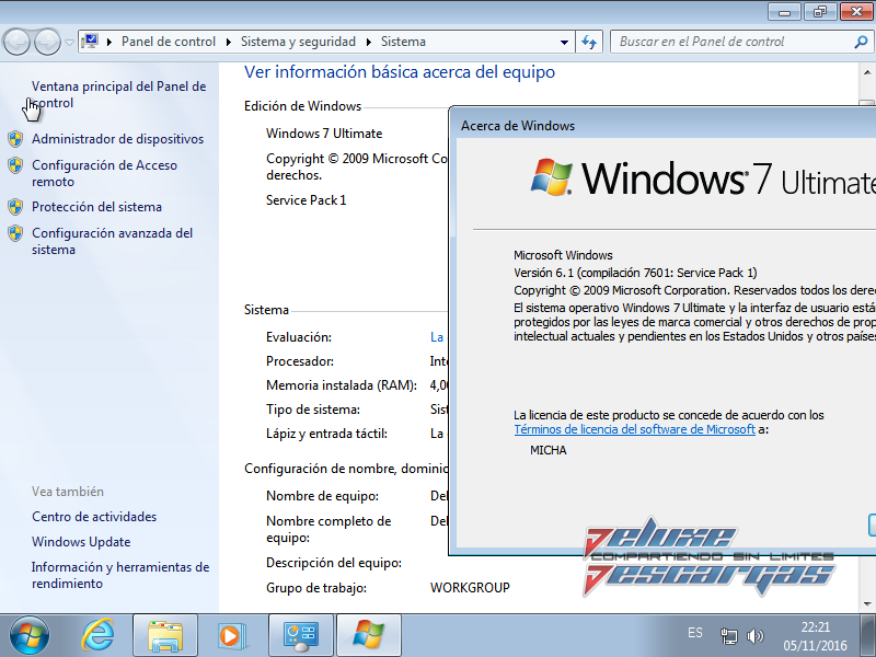 Windows 7 Ultimate SP1 Octubre 2016
